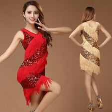 On Sale Latin Dance Costume Samba Tango Cha Cha Tassel Sequins Carnival Dress Up
