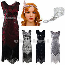 Vintage 1920s Flapper Dress Gatsby 20s Girl Fancy Downton Fringe Sequin Act Deco