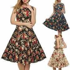 Women's Retro Vintage 1950's Floral Sleeveless 50s 60s Evening Party Swing Dress