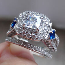 1.90 Ct Halo Princess Blue Sapphire 925 Sterling Silver Wedding Ring Set Sz 5-10