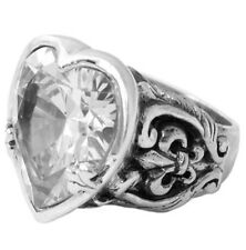 King Baby Studio Large CZ Sterling Silver Heart Ring K20-5930