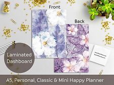 Lilac Flowers - Laminated Dashboard - Happy Planner, Filofax A5 or Personal size