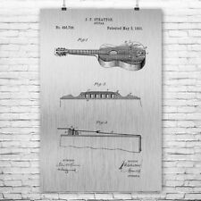 Stratton Acoustic Guitar Poster Patent Art Print Gift Guitarist Player Music