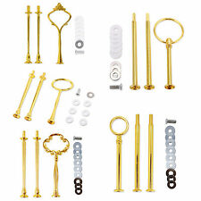 8 x Metal gold/Silver Round Plate Cake Stand Centre Handle Sets & Fittings