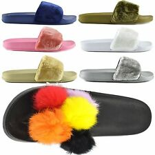 NEW WOMENS SLIP ON FLAT FARRAH RUBBER SLIDER MULES FUR SLIPPER SANDALS SHOES