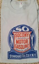 New Men's Silver Blue Heather SOCONY Standard Oil Motor Vintage Tee T Shirt L XL