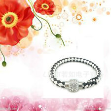 Fashion Leather Wrap Wristband Cuff Magnetic Crystal Buckle Bracelet Bangle