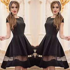 Vogue Lady Bodycon Gauze Short Sleeve Mini Dress Stitching Sheer Big Swing Dress
