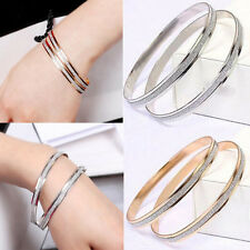 Charming Gold Plated Double Hoop Bangle Bracelet Charm Jewelry Gift For Female