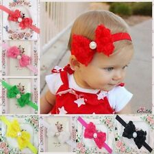 Baby Girl Kid Pearl Headband Rose Bow Lace Flower Elastic Hairband Lovely Gift