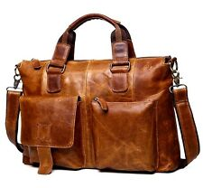 Men Vintage Genuine Leather Laptop Messenger Tote Crossbody Bag Purse Briefcase