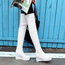 Womens Platform Wedge Round Toe Over Knee High Boots Pull On Slim Leg Party Shoe