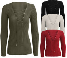 Womens Long Sleeve Lace Up Tied V-Neck Knitted Top Stretch Ladies Jumper 8-14