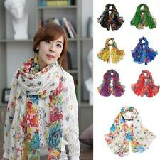 Lady's Warm Soft Floral Print Voile Scarf Chiffon Neck Wrap Shawl Scarf Colors