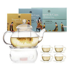 Modern Clear Glass Tea Set Teapot Coffee Cup Warmer Double Wall Cup Infuser Gift