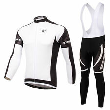 Winter Men cycling jersey Long sleeve bike Trousers Ropa Ciclismo Clothing White
