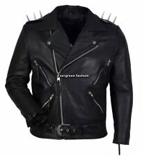 Mens black GHOST RIDER Movie Casual Real Hide Biker Motorcycle Leather Jacket