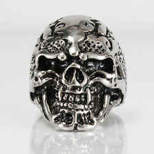 NEW BIKER MOTORCYCLE STAINLESS STEEL ETCHED SILVER SKULL RING SIZE 8 9 10 11