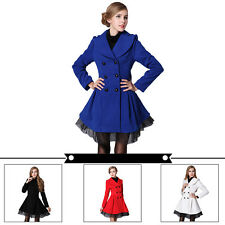 Women Slim Wool Blend Trench Warm Coat Dress Jacket Double Breasted Overcoat #MR