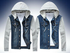 Fashion New Mens Classic Denim Hooded Jean Jacket Hoody Coat Detachable Cap 2