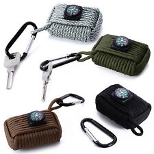 Survival Parachute Cord Fishing Tools Kit with Compass Key Chain Carabiner Set