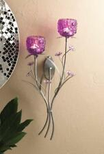 Floral Sculpture 2 Glass Cup Wall Sconce Votive Candle Holder