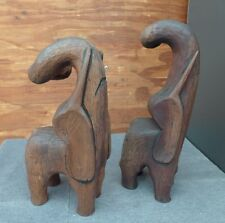 Teak or Rosewood Wood African Elephants Handcrafted Bookends Decorative Figurine