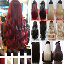 100% real thick clip in hair extensions half full head curly wavy straight H523