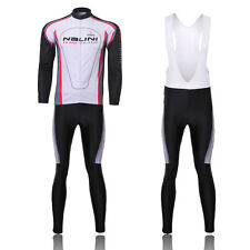Mens New Sport Cycling Wear Bicycle Set Long Sleeve Shirt Jersey Bib Shorts Suit
