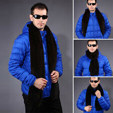 Men Excellent Good  100% Real Knitted Farm Mink Fur Stole Cape Shawl Scarf Warm