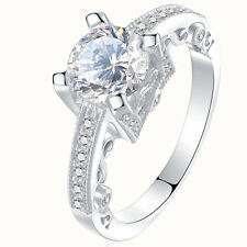 2.0 Ct Round CZ 925 Sterling Silver White Gold Plated Engagement Ring Size 5-10