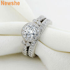1.45 CT ROUND CUT HALO CZ 925 STERLING SILVER WEDDING RING SET WOMEN'S SIZE 5-10