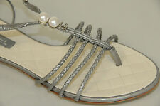 New Chanel Gray Patent Quilted Pearls CC Logo Thong Flats Sandals Shoes 38