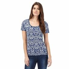 The Collection Womens Blue And White Tile Print Bubble Hem Top From Debenhams
