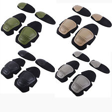 4pcs Airsoft Tactical Paintball Knee Elbow Protective Pad Skate Gear FROG Combat