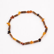 Natural Amber Baby Necklace with Polished Chips Beads and Hazelwood