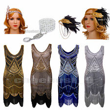 1920s Flapper Dress Great Gatsby 20s Fancy Downton Costume Sequin Beaded Tassels