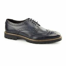 Base London TRENCH Mens Washed Leather Lace Up Traditional Brogue Shoes Blue
