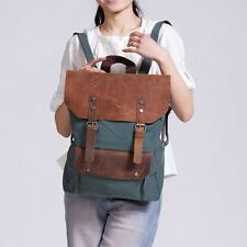 Women's Vintage Retro Canvas Leather bag Backpack Bag satchel bookbag rucksack