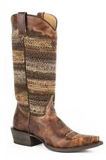 Roper Boots Ladies Brown Leather 13in Fabric Avril Snip Cowboy 09-021-7622-0788