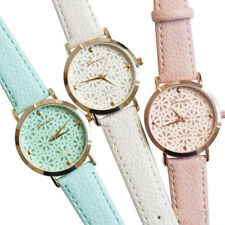 Women Geneva Faux Leather Band Fashion Flower Casual Analog Quartz Wrist Watch