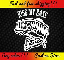 Kiss My Bass Vinyl Decal Sticker Car Truck Boat Fishing Funny Pole Rod Lure