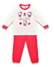 NEW Girls Official Hello Kitty 2 Piece White & Pink Long Pyjama Set Ages 4 & 5y