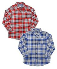 NEW Oshkosh Boys Long Sleeved Checked Cotton Fashion Shirt Red or Blue Age 4 & 5