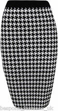 WOMENS LADIES DOGTOOTH BODYCON ELASTICATE WAIST PENCIL MIDI SKIRT PLUS SIZE 8-16