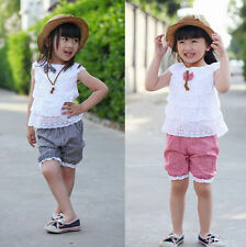 Toddler Baby Outfit Clothes Trousers Girls Pants T-shirt Kids 1SET Tops+Short