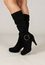 Womens New Going Out Buckle Diamante Black Mid Calf Heel Boots