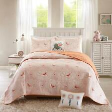 Coral Orange Birds Doves Leaves Nature Reversible Cotton Coverlet Bedspread Set