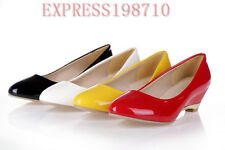 Hot Fashion Womens Shiny Synthetic High Wedge Heels Pumps Shoes Super Plus Size