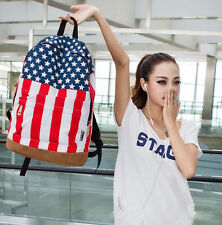 US UK American Flag School Shoulder Bag Studded Backpack Canvas Bags Neutral